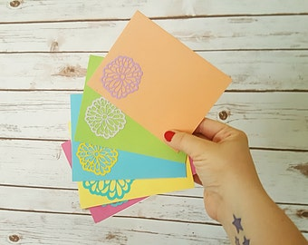 Set of 5 Whimsy Floral Note Cards