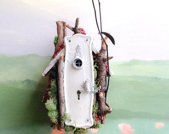 Little Shabby Fairy Home // Miniature OOAK fairy garden home with striped roof & upcycled antique door hardware, Shabby fairy home