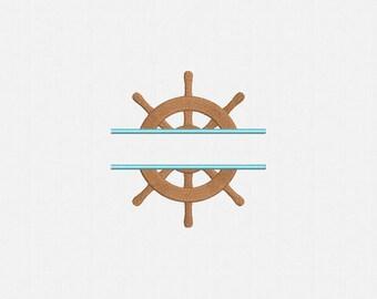 Split Ship Wheel Machine Embroidery Design - 1 Size