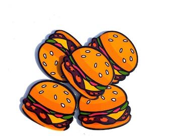 Hamburger Cabochons, Acrylic Hamburgers, Plastic Hamburger Charms, Stud Charms 5 pieces