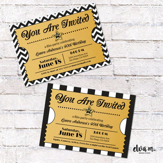 Hollywood Ticket Invitation. Hollywood Or Film Party Invite