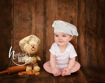 Newborn Baby Child Toddler Chef Bakery Cookie Scene - Photo Wood Background - Baker Portrait - Instant Download - Photography Backdrop