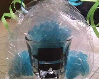 """Breaking Bad Heisenberg/Walter White Shot Glass With """"Blue Sky"""" Candy"""