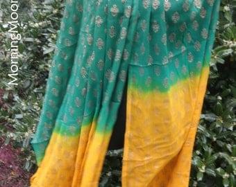 Boho GAUZE SHAWL, bellydance VEIL, Hippie Chic Bohemian, India Bollywood large scarf/wrap, Green & Yellow with Gold print/trim, Festival!