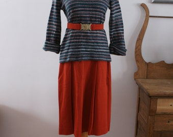 Venezia 1970's Vintage Green & Orange Striped Sweater with Skirt Set/Suit/Sweater Dress Made in Montreal Canada Size 14 BT-359