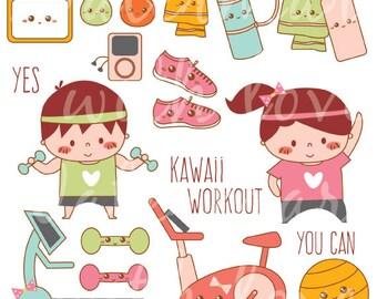 Kawaii Workout Clipart - Kawaii Exercise Clipart - Kawaii Gym Clipart  - Cute Workout Clip art - Instant Download - Kawaii Gym Clip art