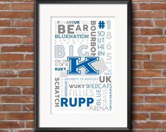 University of Kentucky -- College Town, Lexington, UK, WILDCATS -- 11x17 Typography Print