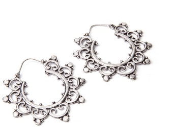Mandala Dotted White Brass Hoop  Earrings Tribal Earrings Gypsy Jewellery Free UK Delivery Gift Boxed WB18