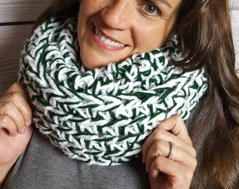 Michigan State Infinity Scarf, Crochet Cowl Scarf, Circle Scarf, Loop Scarf, Michigan State Infinity Scarf - Can be worn 2 different ways!