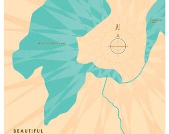 Little Pickerel Lake, WI Map Print