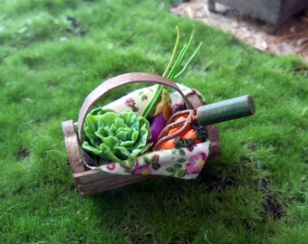 Gardening with vegetables and tool basket miniature Dollhouse scale 1:12
