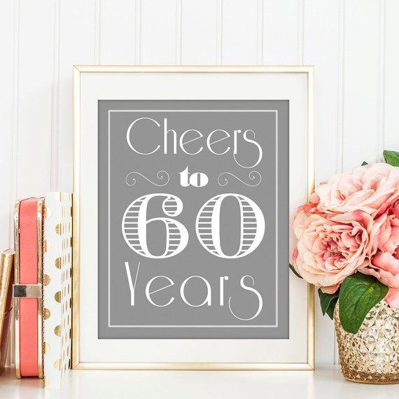 Items similar to cheers to 60 years 60th 60th birthday for Decoration 60th birthday party