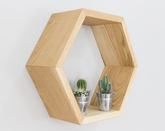 Honeycomb Hexagon Wall Shelf in Solid Oak - Single Honeycomb