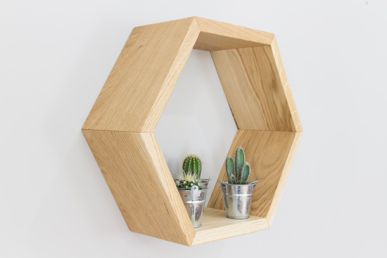 honeycomb hexagon wall shelf in solid oak single honeycomb. Black Bedroom Furniture Sets. Home Design Ideas