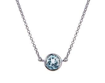 Pretty Sky Blue Topaz Silver Necklace