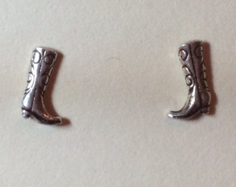Sterling Silver Cowboy Boots Stud Earrings