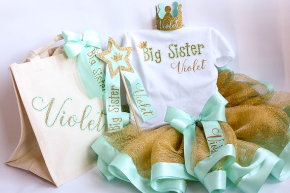 Big Sister Gift - Personalized Gift - Big Sister Present - Big Sister Kit - Big Sister Hospital Gift - Shirt - Crown - Bag - Wand -