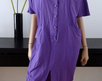 Robe 80's vintage violet taille 38 / size uk 10 / us 6