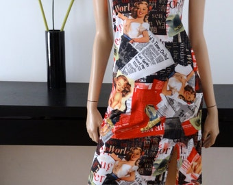 Robe imprimé vintage 50's / pin-up fifties taille 36-38 / uk 8-10 / us 4-6