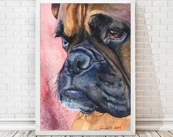 Boxer  watercolor print of the Original Painting art cute Sweet Dog Decor