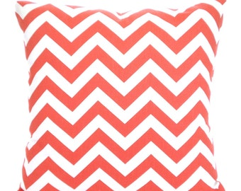 Coral Chevron Throw Pillow Covers, Cushion Covers, Throw Pillow, Couch Pillows, Decorative Pillow, Bed Pillows Zig Zag One or More All Sizes
