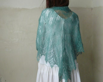 Wool shawl Lace shawl Knitted shawl Wool scarf Stole Triangular wrap Evening wraps Lace wrap Green shawl Leaves Wool cape Gift for women