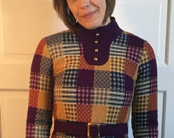 1960s Mod Purple and Mustard Quilted Wool Dress