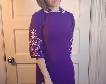 1960s Mod Purple Mini Dress