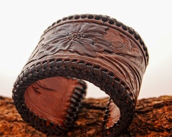 Leather cuff 2.5 inches with braided edge (15% off)