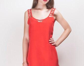 Red silken dress/ Free shipping