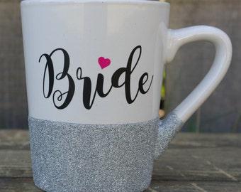 Bride Mug*Bride Gift*Wedding Gift*Bridal Shower Gift*Bride Glitter Mug*