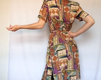Vintage Impressions California Dress | Tribal | Safari | Funky | Boho | Neutral Shirt Dress | Brown