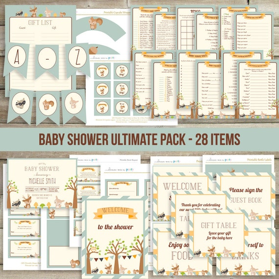 Woodland baby shower decorations package by drawmeaparty for Baby shower decoration packages