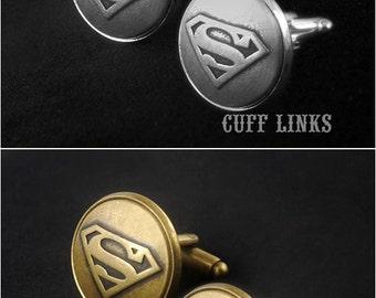 Superman Cufflinks -Mens Cufflinks -Superman Cuff Links -Wedding Cufflinks -Super Hero Cufflinks