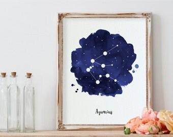 Aquarius Art, Constellation Art, Zodiac, Zodiac Print, Aquarius, Printable, Zodiac Sign, Printable Art, Nursery Printable, Watercolor, Gift