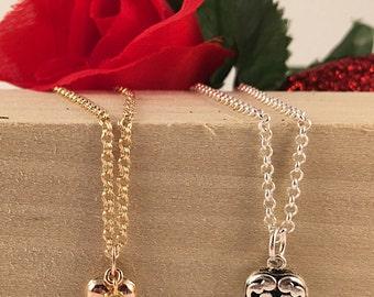 Dainty Heart Necklace, Children's Heart Necklace, Gold Heart Necklace, Sterling Heart Necklace, Dainty Heart Necklace, Fancy Heart Necklace