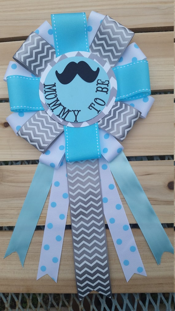 babyshower mommy to be corsage mustache baby by silviaspartydecor