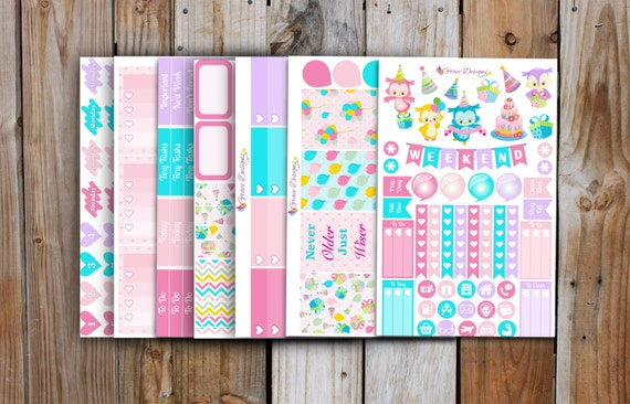 Happy Birthday Planner Stickers Kit for use with ERIN CONDREN Life Planner (7 pages)