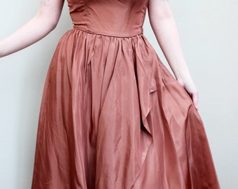 1950s 50s Vintage Bronze Brown Silk Taffeta Party Strapless Dress & Bolero Set Evening Jeweled Beaded UK 8 10 small