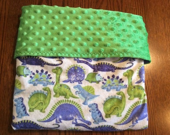 Dinosaur Baby Stroller Blanket- Flannel and Minky Blanket-Personalization Optional