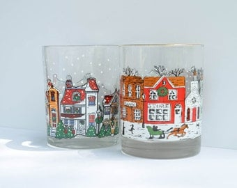 Clear Printed Christmas Glass, Holiday Scene, Snow falling - Set of 2