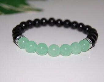 Jade Gemstone and Wood 8mm Beads Bracelet, Stretch Bracelet, Colorful, Men,Women,Beaded,Yoga,Pray,Protection,Meditation