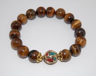 Tiger Eye Bracelet,Nepal Coral Brass Focal Bead,,10mm Tiger Eye Gemstone Beads,Stretch Bracelet,Men,Women,Pray,Yoga,Good Luck Bracelet