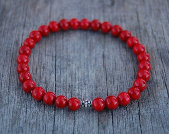 Red Coral Bracelet,Gemstone 8mm beads Bracelet,Man,Woman,health,Relieve,Protection,Yoga,Stretch,Men,Women,Protection,Meditation