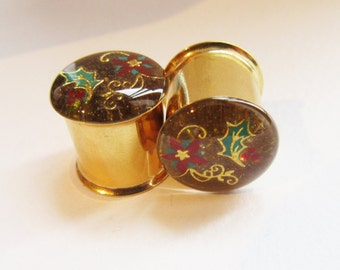 Gold Holly Plugs, Glitter Gauges, Holiday Gifts, Christmas Party Gauges, Winter Plugs,  Plug Gauge Ear Tunnels