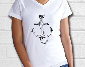 Womens Nautical clothing, Anchor Shirt, Nautical Shirt, Anchor Tshirt, Navy Shirt, Sailor Shirt, Ladies Tshirt, Ladies tees, vneck