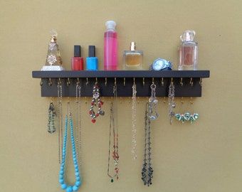 30 DIFFERENT FINISH OPTIONS - Jewelry Organizer - Necklace Holder - With A Shelf - 35 Hooks - Satin Black Finish - Hangers Installed