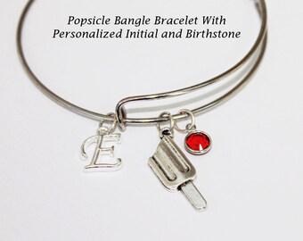 Bangle Bracelet. Popsicle Bracelet. Initial Bracelet. Birthstone Bracelet. You make me melt like a popsicle. Personalized Jewelry.