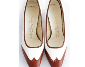60s brown and white wingtip pumps