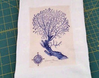 Flour Sack Towel/Nautical Towel/Blue Coral Beauty/100% Natural Cotton/Tea Towel/Bath and Beauty